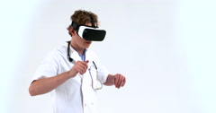 VR surgeon Virtual Reality Oculus Glasses Operating Surgery finishing his exa Stock Footage