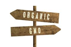 Gmo or Organic Farming Wooden Direction Sign. Kuvituskuvat