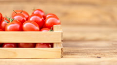 Tomatoes with a small box Stock Footage