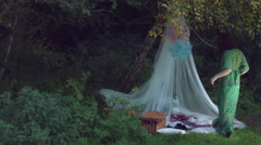 4k Natural Shot of a Woman Enjoying Forest in a Picnic Shelter Stock Footage