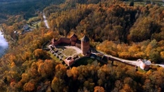 Flying around Ruins of Turaida castle on springtime, Sigulda, Latvia Stock Footage