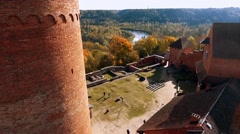 Ruins of Turaida castle on springtime, flying beetwen the towers Sigulda, Latvia Stock Footage