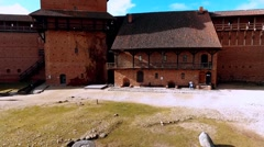Take off. Ruins of Turaida castle on springtime, Sigulda, Latvia Stock Footage