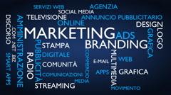 Marketing, branding word tag cloud - blue, Italian variant Stock Footage