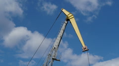 Work port crane on the sky background Stock Footage