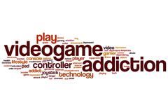Videogame addiction word cloud Stock Illustration