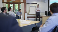 4K Real business group listening to the speaker at a business seminar Stock Footage
