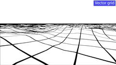 Vector Abstract wireframe landscape background. Cyberspace grid Stock Illustration