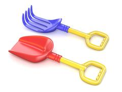 Plastic toy spade and rake. 3D Stock Illustration