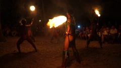 Polynesian cultural music and fire dance performance on Bora Bora Island, French Stock Footage