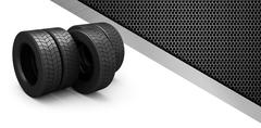 Composite image of row of tyres Stock Illustration