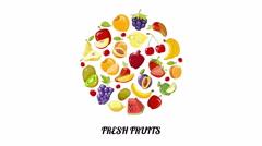 Fresh fruits circle moving animation Stock Footage