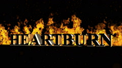 Heartburn Burning Hot Word in Fire Stock Footage