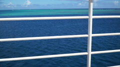 The side rail on board a sailing cruise ship in French Polynesia. Stock Footage