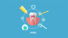 Oral hygiene and teeth care label animation Stock Footage