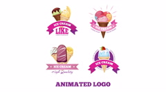 Ice cream logo animation Stock Footage