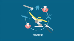 Dental treatment, dentures and dental care animation Stock Footage