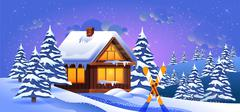 Vector illustration of a winter landscape with skis Stock Illustration
