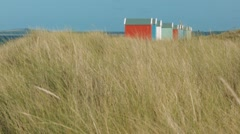Beach huts, Findhorn Beach, Moray Stock Footage