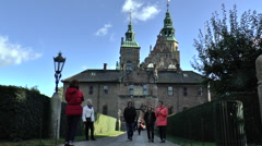 Tourists Near Entrance of Rosenborg Palace in Central Copenhagen Stock Footage