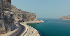 Mercedes driving Musandam Sultanate of Oman Stock Footage