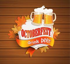 Oktoberfest vintage frame with beer. Stock Illustration