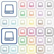 Hard disk drive color outlined flat icons Stock Illustration