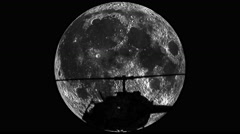 Helicopter takeoff silhouette on the Moon Stock Footage
