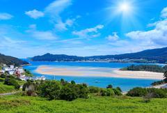 Sunshiny Porto Do Barqueiro, Galicia, Spain. Stock Photos