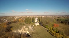Aerial view of a church in the woods Stock Footage