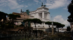 Old monuments in the front, restored buildings in the back, Rome, Italy Stock Footage