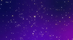Glowing white yellow sparkles on a purple blue background Stock Footage