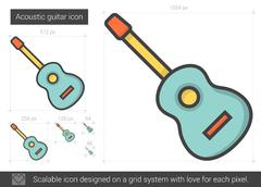 Acoustic guitar line icon Stock Illustration