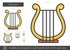 Harp line icon Stock Illustration