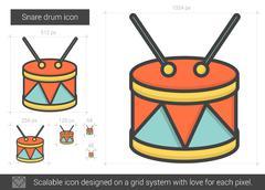 Snare drum line icon Stock Illustration