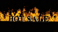Hot Sale Burning Hot Word in Fire Stock Footage