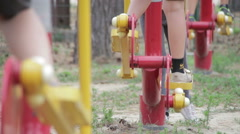 Children's Fitness Equipment on the Street Stock Footage