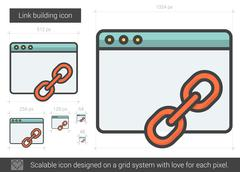Link building line icon Stock Illustration