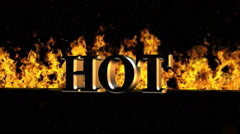 Hot Burning Hot Word in Fire Stock Footage