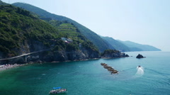 View to a small bay in the Cinque Terre, Liguria, Italy Stock Footage
