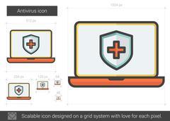 Antivirus line icon Stock Illustration