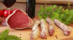 Cured meats and home-made sausages Stock Footage