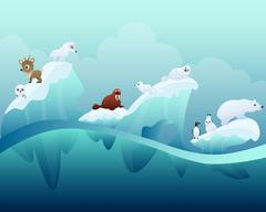 Animals in the Arctic Stock Illustration