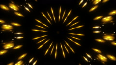Moving gold light and particles, black background, loop Stock Footage