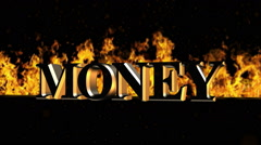 Money Burning Hot Word in Fire Stock Footage