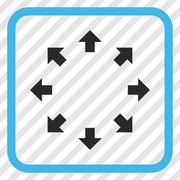 Radial Arrows Vector Icon In a Frame Stock Illustration