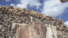 Small wedge of wood chopped at 480fps Stock Footage