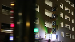 Parking Structure at night Stock Footage