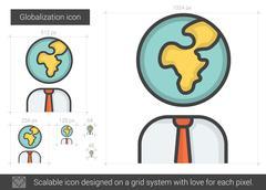Globalization line icon Stock Illustration