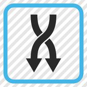 Shuffle Arrows Down Vector Icon In a Frame Stock Illustration